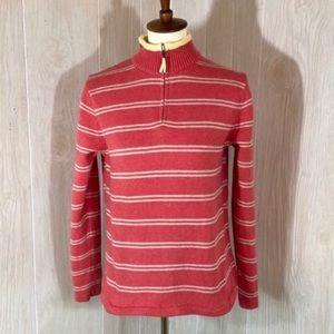 L.L. Bean Pink Striped Mock Neck Sweater Medium